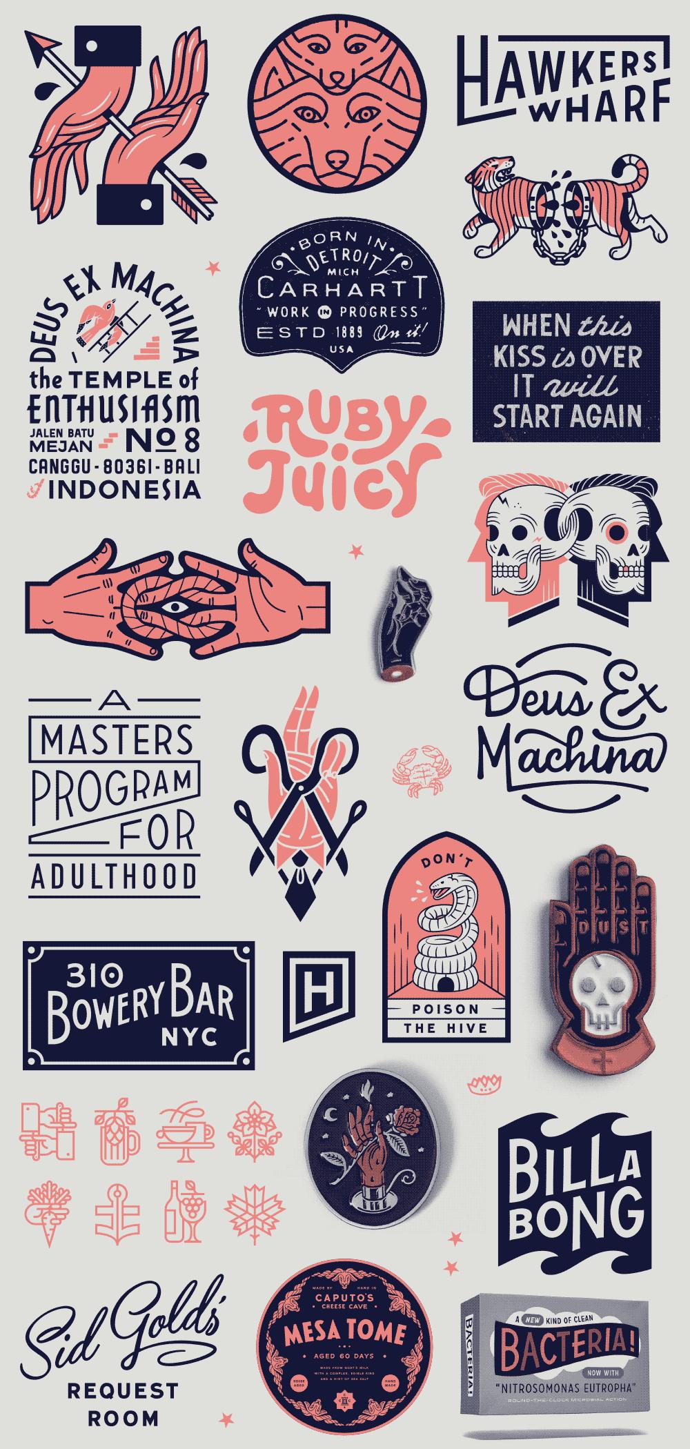 Vintage hand drawn logo designs
