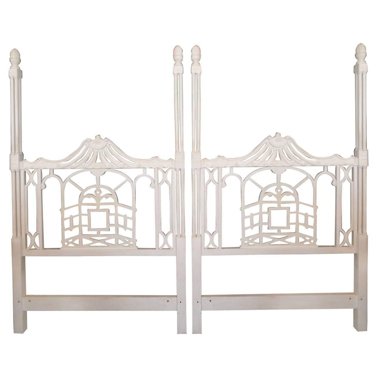7ba38cea22b0 Vintage Pair of Pagoda Twin Headboards Chinese Chippendale Hollywood  Regency…