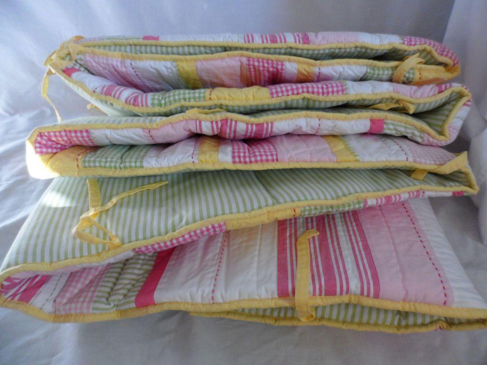 NIP Pottery Barn Kids Baby Pink VERONICA Nursery Crib Bumper Pad