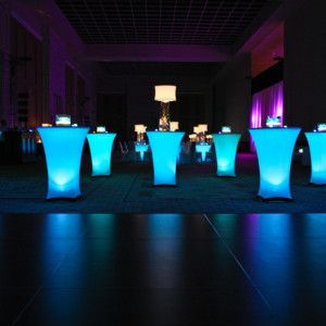 led spandex cocktail tables available for rent at orlando wedding