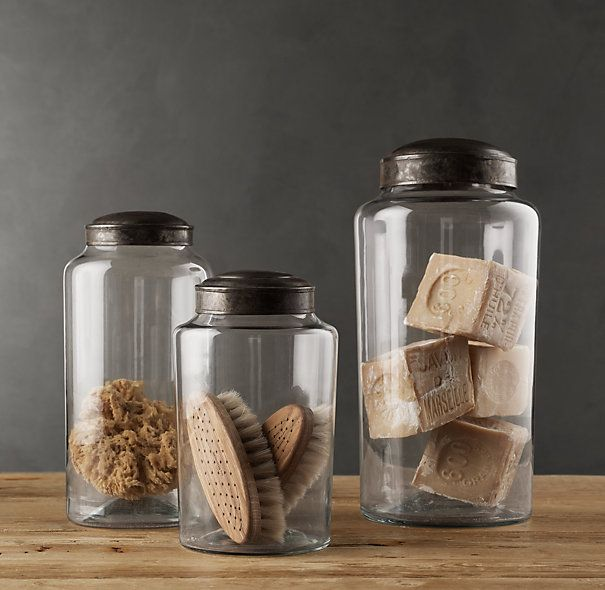 PHARMACY ZINC & GLASS JARS on sale at Restoration Hardware (for coastal chic guest bath)