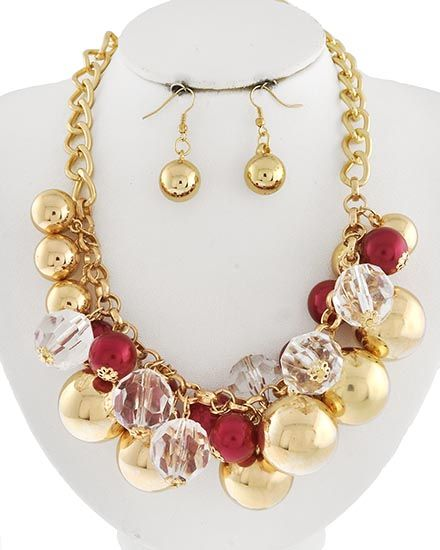 Gold Tone / Red Synthetic Pearl & Clear Acrylic & Gold Ccb (bead) / Lead&nickel Compliant / Fish Hook (earrings) / Charm / Necklace & Earring Set