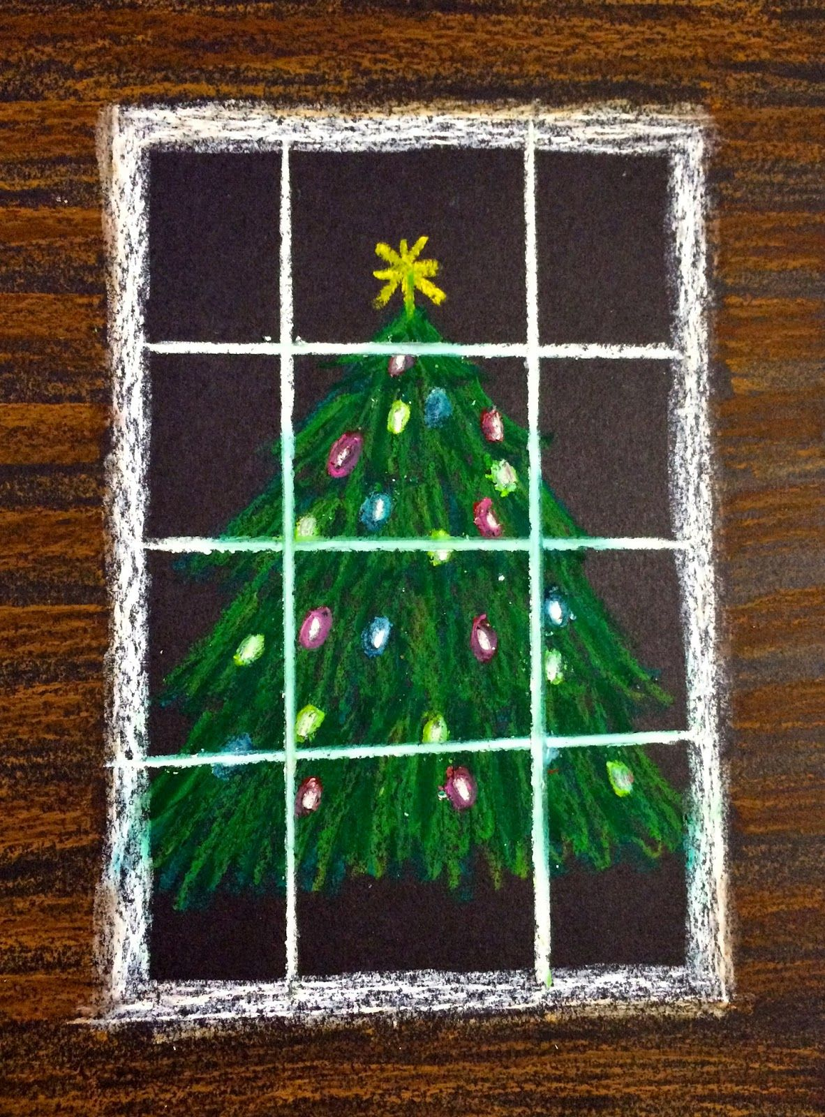 Kathy S Angelnik Designs Art Project Ideas Oil Pastel Christmas Tree In A Snowstorm Christmas Art Christmas Arts And Crafts Christmas Art Projects