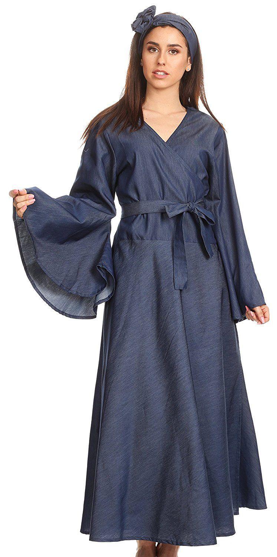 Sakkas ximena long wrap around bell sleeve chambray full circle