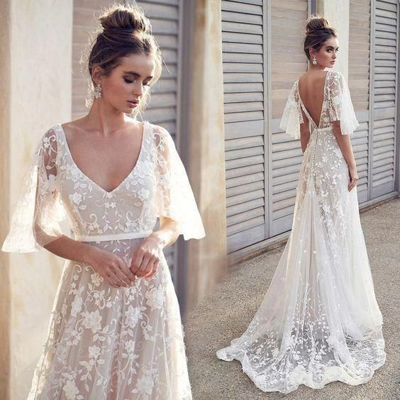 Elegant Half Sleeves V Neck Lace Sweep Trailing Long Wedding Dresses ,MD359 is part of Lace beach wedding dress - inch