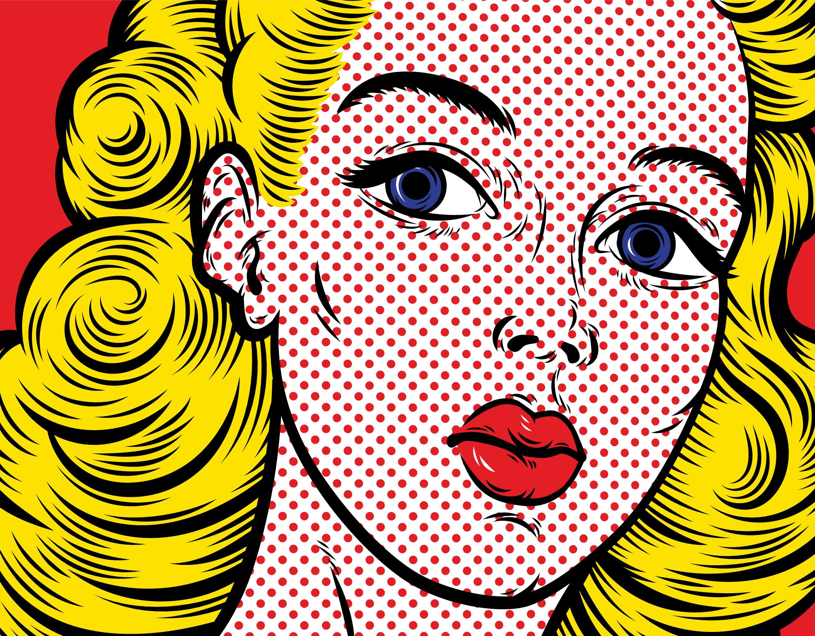 Pop Art Blond Woman Face Close Up Pop Art Pop Art Drawing Art Web