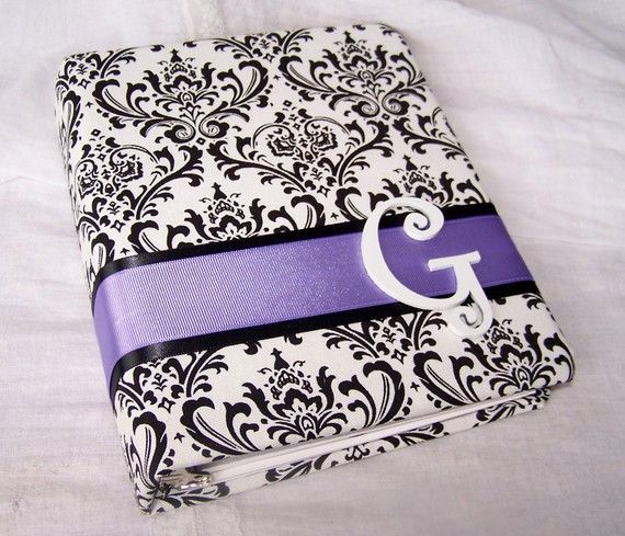 Baby Shower Guest Book- Black and White Damask, Lavender, Purple, Bridal Shower Book on Etsy, $56.00