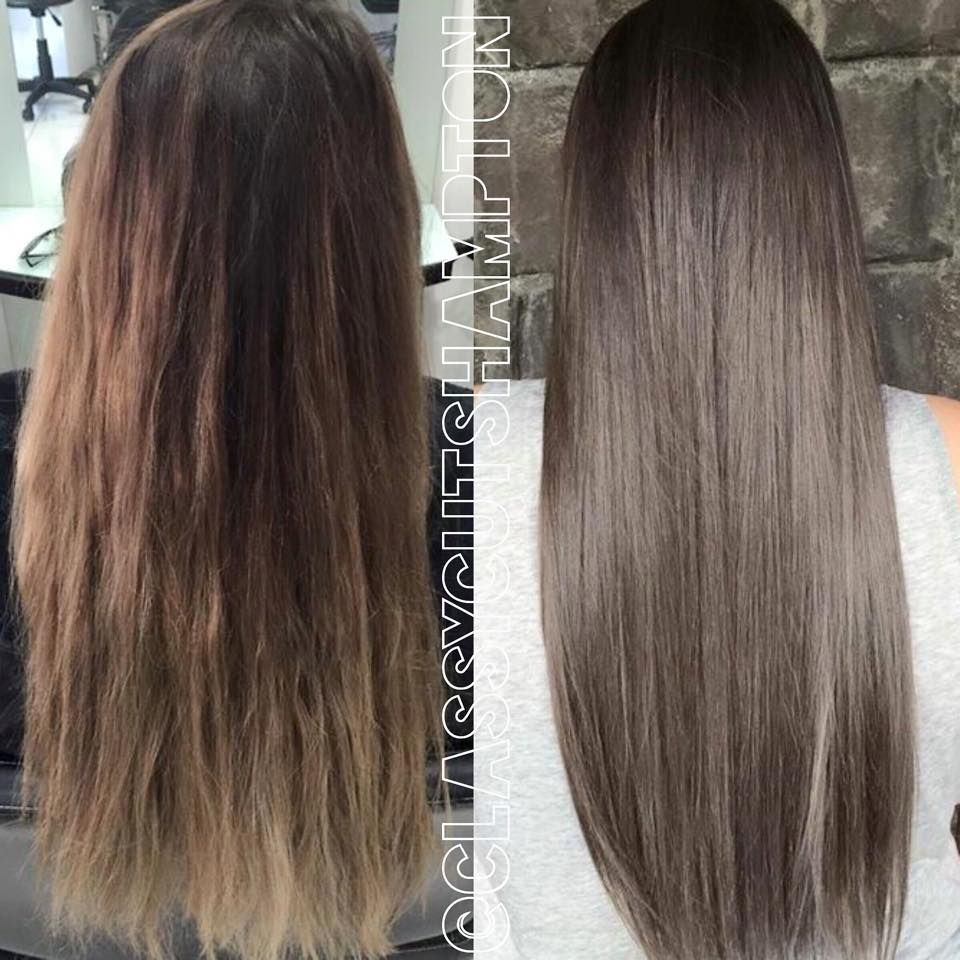 We Did Another Full Color Lift To Remove All Warm Undertones Then Toned Her Down To A Flawless Smokey Grey Brown Ladies Even Hair Styles Dyed Hair Hair Color