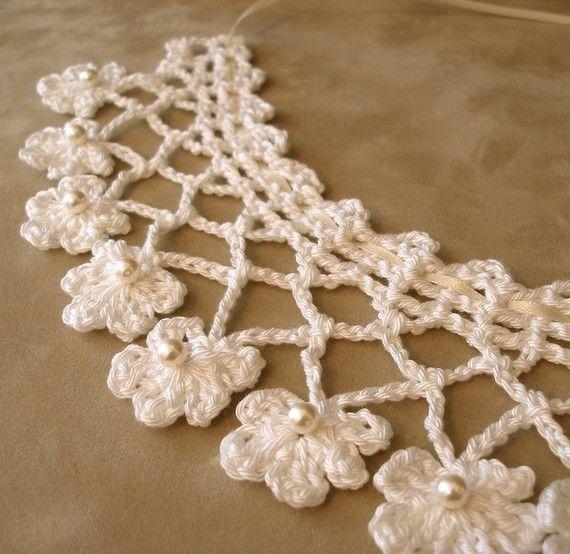 PDF Crochet Pattern  Fabled Flowers Necklace by JeweledElegance