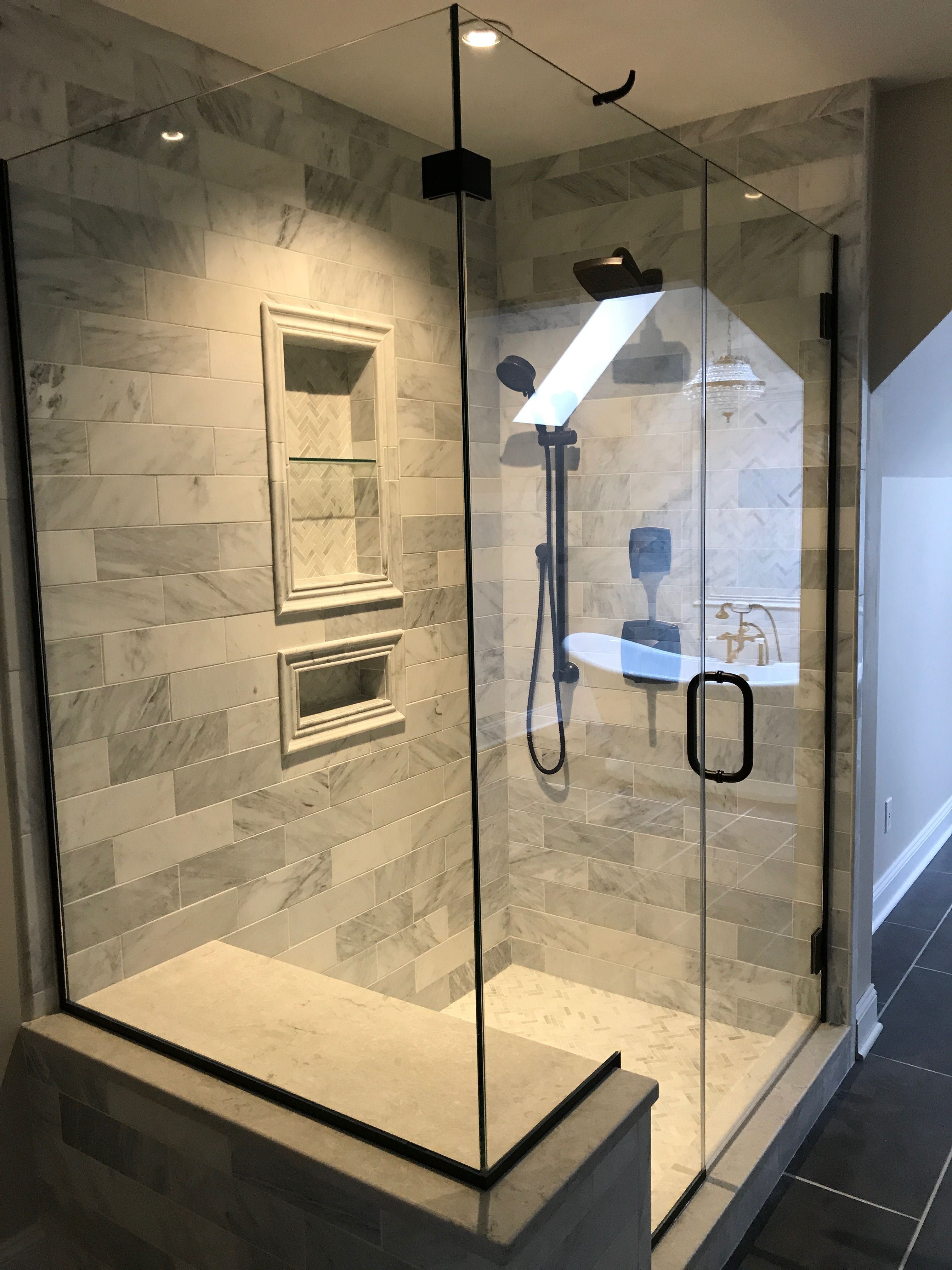 Hampton Carrera Marble Tile Oil Rubbed Bronze Shower Fixtures