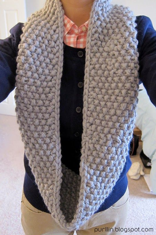 About the December Seed Stitch Infinity Circle Scarf:  I love infinity circle scarves and I also love knitting with chunky yarn -- so ...