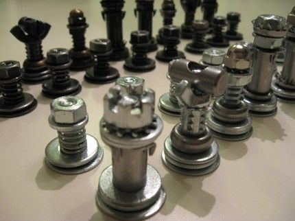 Hardware chess sets, so cool! Hmmm,  how about a Lego one?