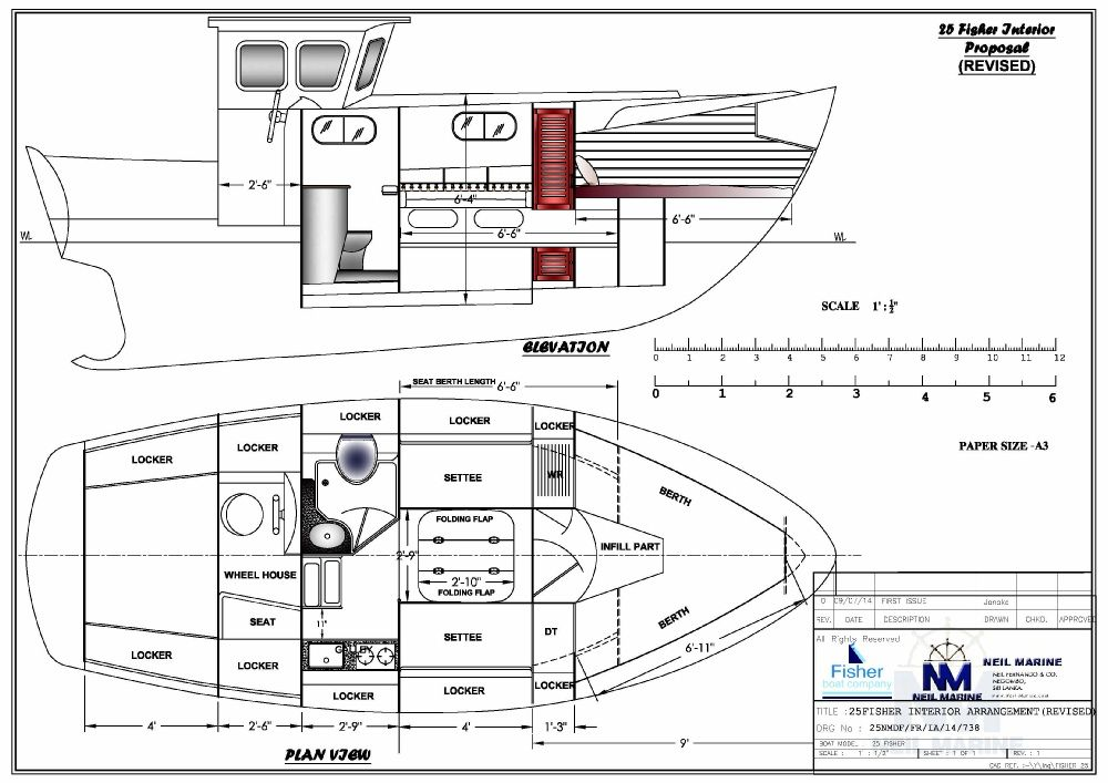 Twin settee floor plan Fisher 25 redux Boat Boat drawing