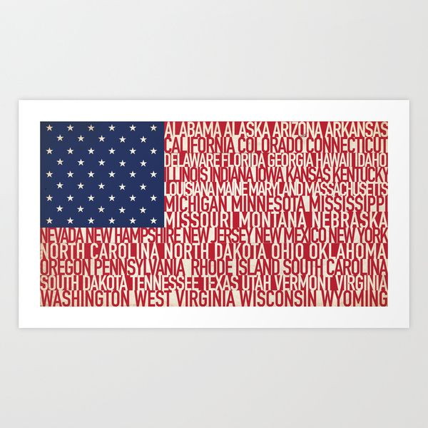 American Type Flag Art Print By Hunter Langston Designs Society6 Flag Art American Flag Art Art