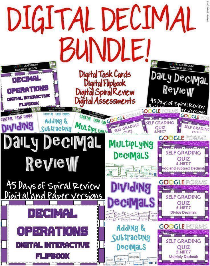 Google Classroom Decimal Operations BUNDLE Dividing decimals - spreadsheet google form