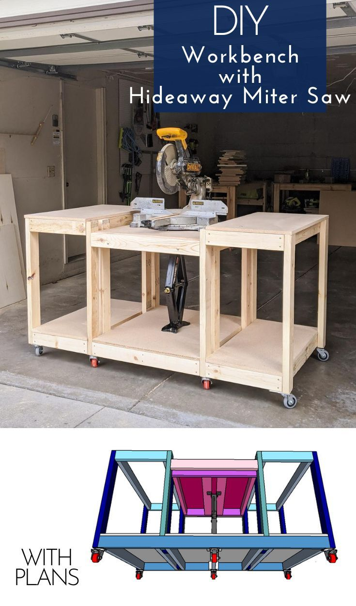 Grab plans to build this all-in-one workbench with a hideaway miter saw. It's perfect for small shops or garages where you don't have room for a permanent miter saw station. #woodworking #woodshop #shoporganization #shopideas #workbench