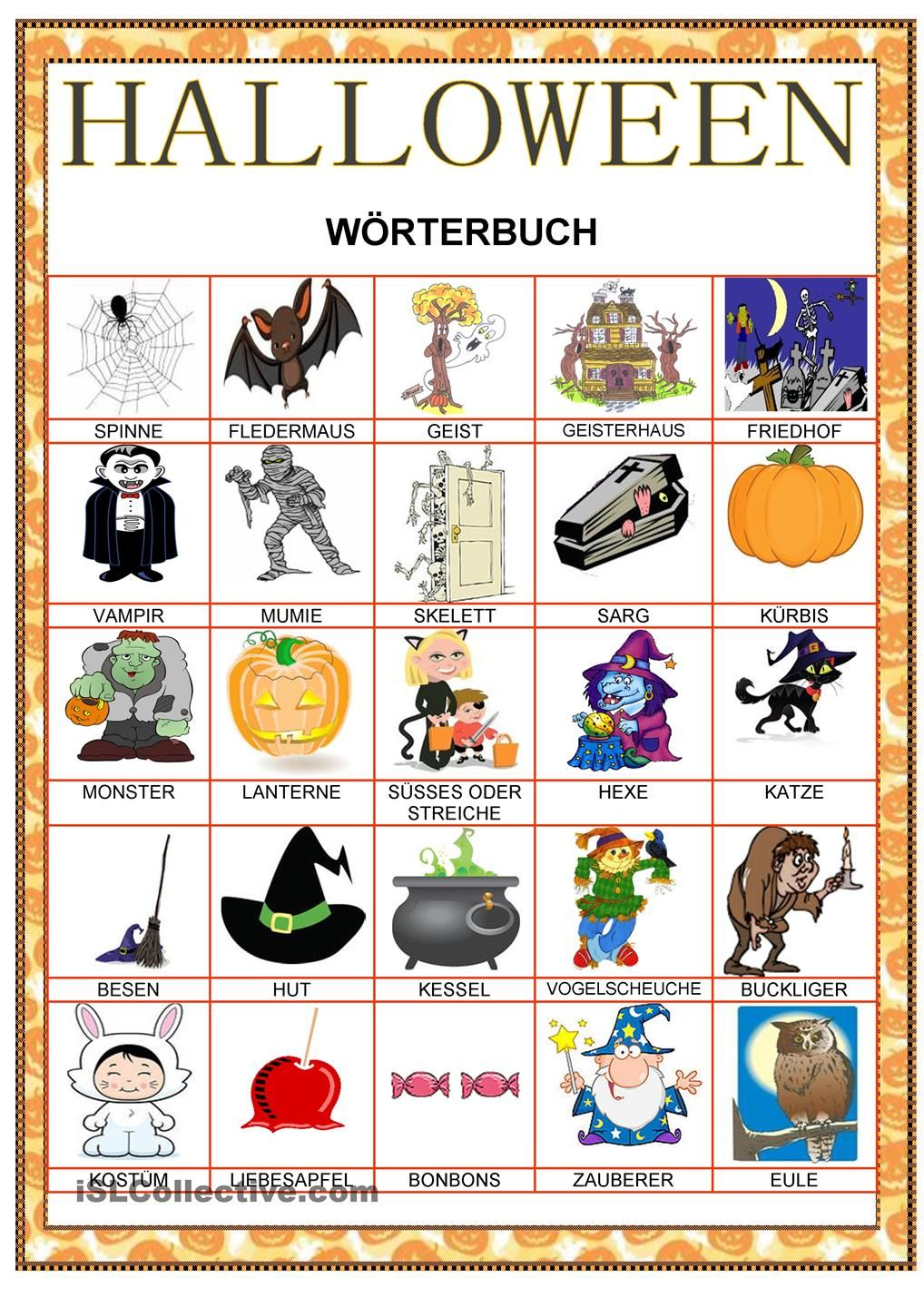 Halloween Wörterbuch | Learn German | Pinterest | Learn german and ...