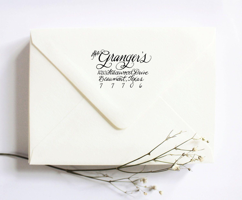 Custom Calligraphy Rubber Stamp Return Address for Wedding