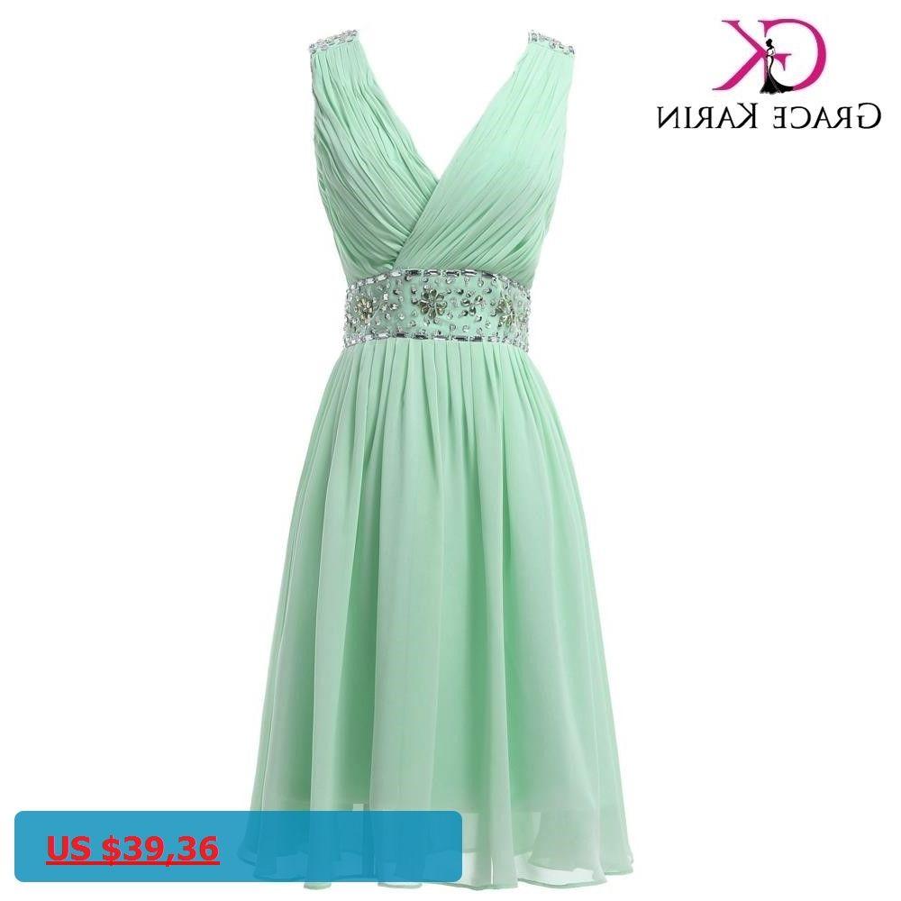Grace karin real picture chiffon mint green short bridesmaid dresses