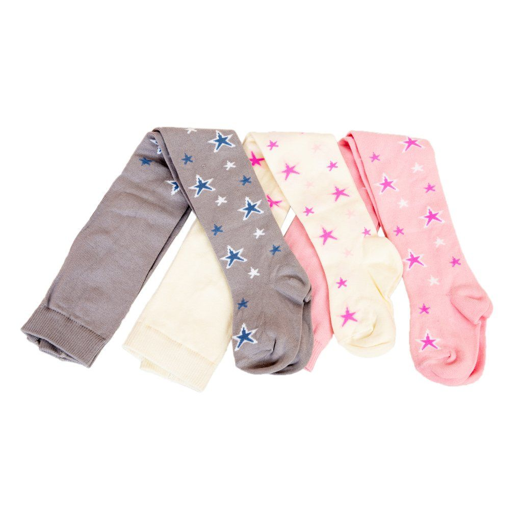 Boys and Toddlers-Stretch-Strong-Solid Colors and Prints-3-Pack Girls SOFNITA Kids Tights Opaque Cotton Blend Tights