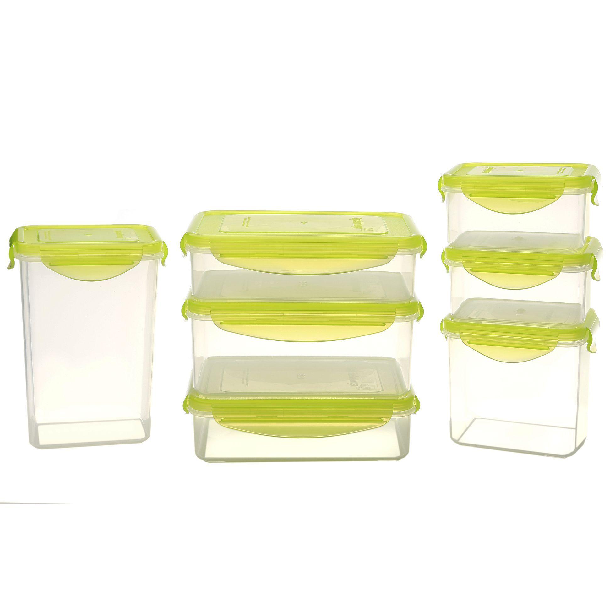 Kinetic Gogreen Green Clear Plastic 14 Piece Rectangular Food