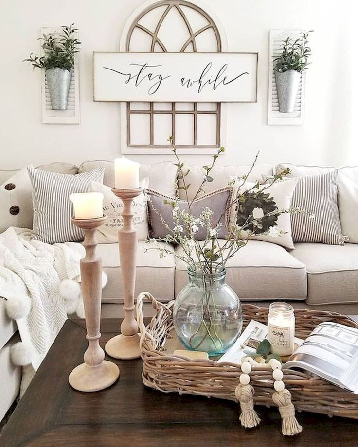 Cosy Farmhouse Living Room With Window Pane Decorations