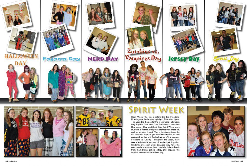 Cool Idea For A Yearbook Spread Page for spirit days? Too much ...