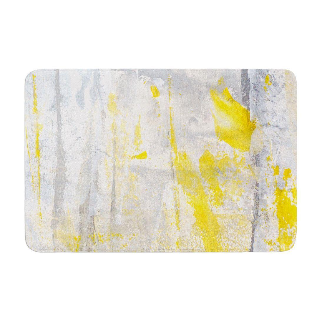 "CarolLynn Tice ""Abstraction"" Grey Yellow Memory Foam Bath Mat"