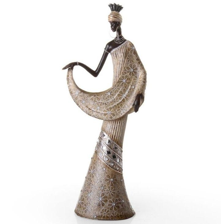 Figura Mujer Africana Resina Oro 18,5x11x47,5 cm ...
