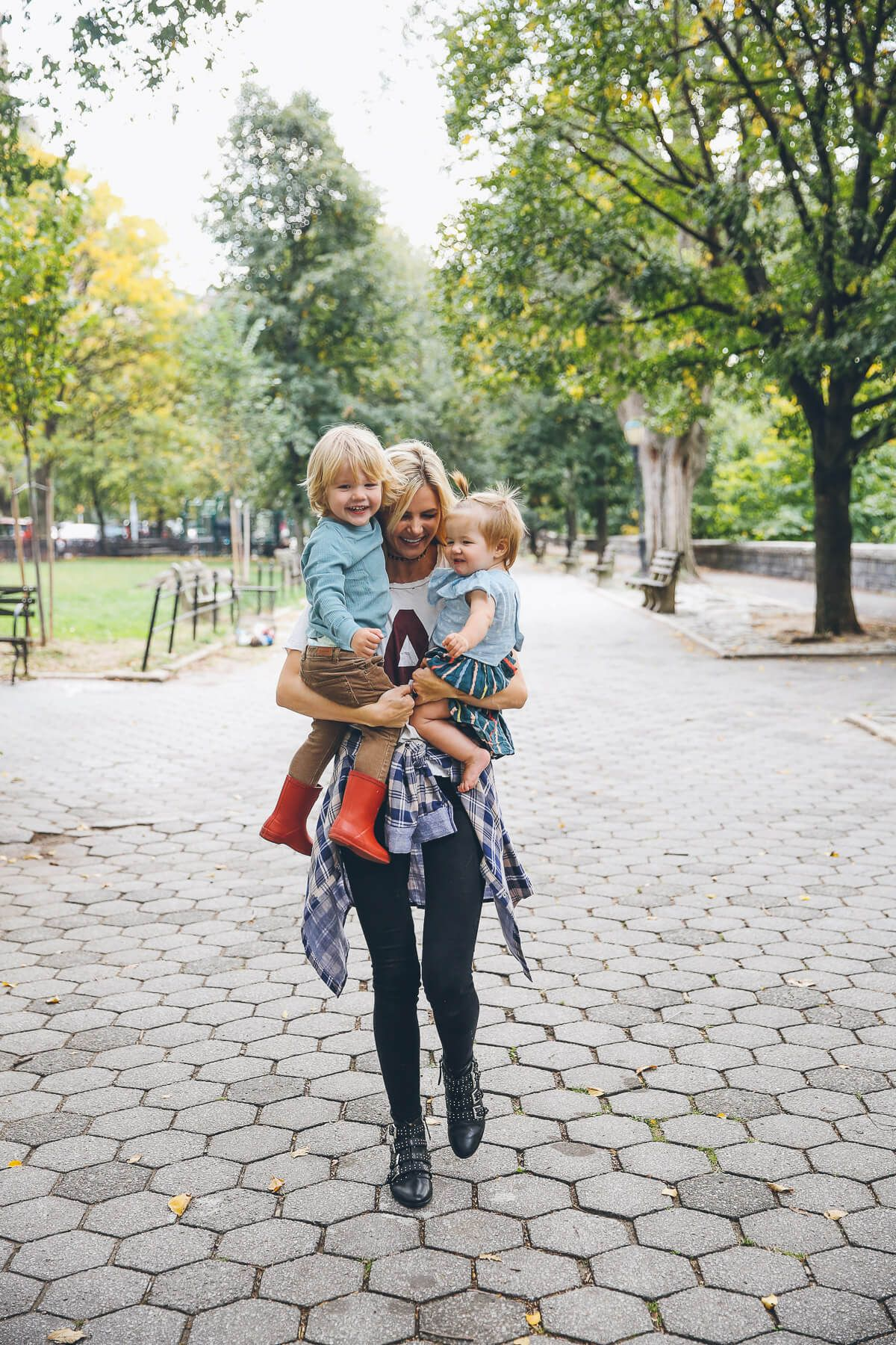 Barefoot Blonde Amber and the kids in riverside park