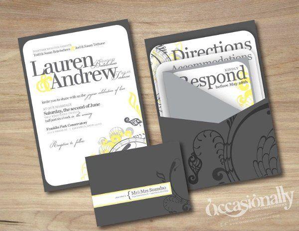 modern yellow grey wedding invitations single panel pocket wrap