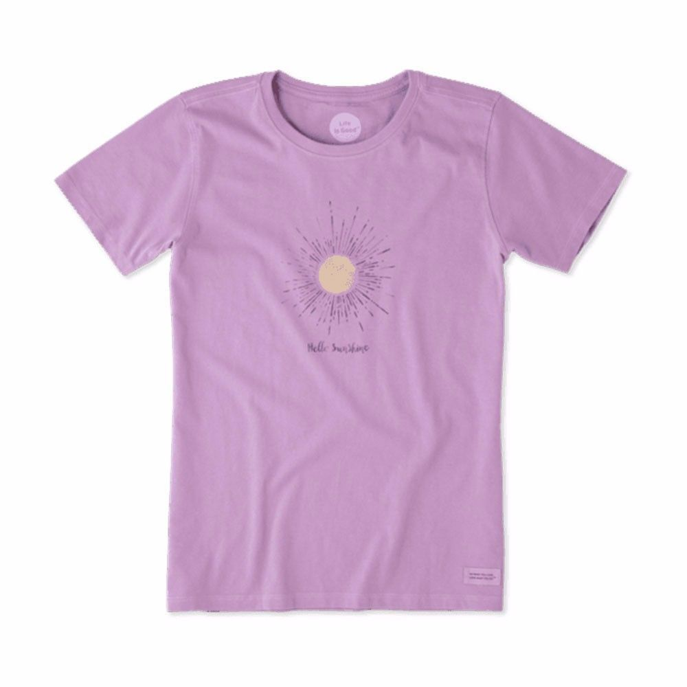 Life is good womenus crusher tee hello sun rays dusty orchid