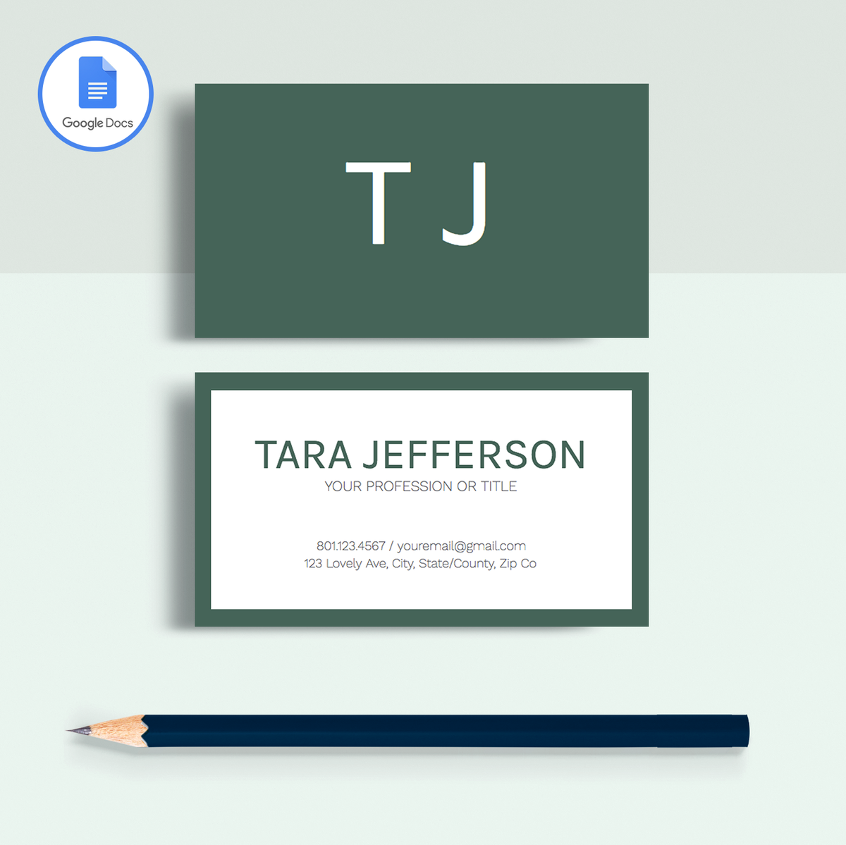 Tara Jefferson Google Docs Professional Business Cards Template