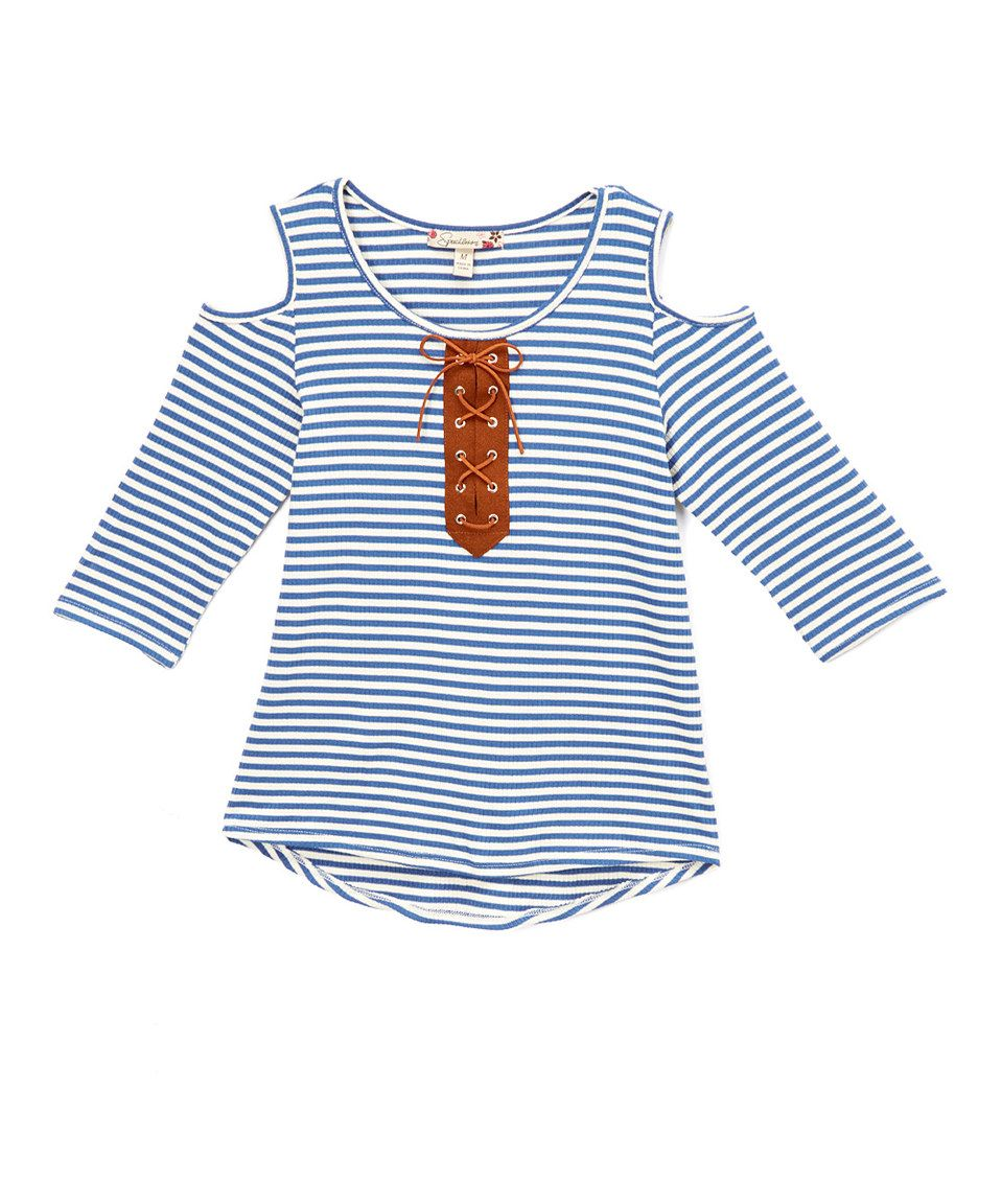 Loving this Speechless Denim & Ivory Stripe Lace-Up Cutout Top on #zulily! #zulilyfinds