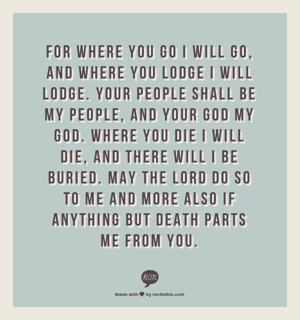 ruth 1 16 17 this was part of our marriage vows quotes