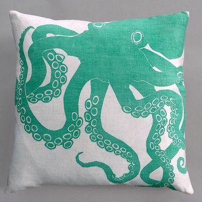 Dermond Peterson Octopus Turquoise Pillow on White Linen | AllModern