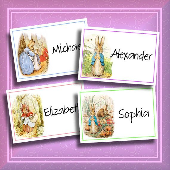 Easter DIY Peter Rabbit Place cards Printable Easter Birthday by iDoDiY, $8.00 Use as placecards, tags or dessert table signs.