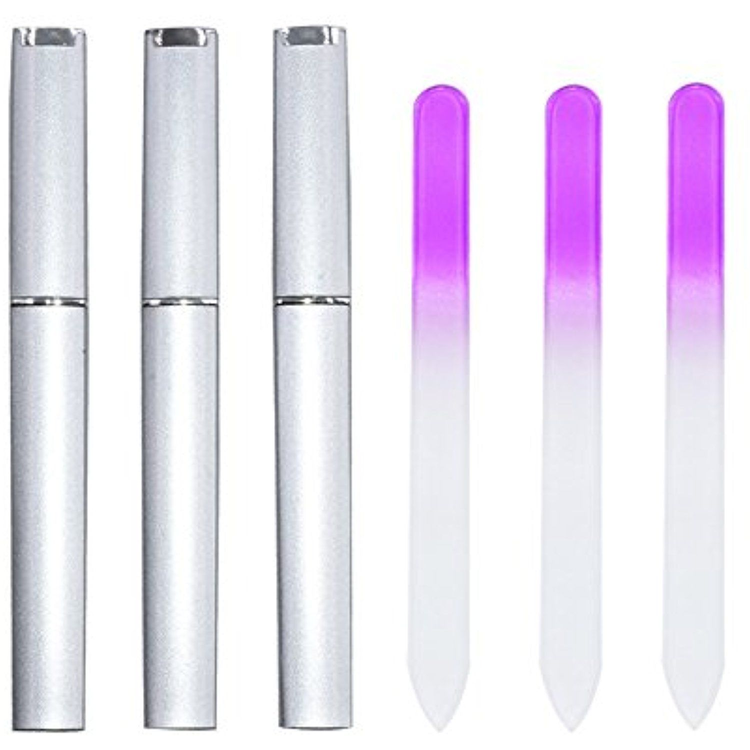 Linkcool 3 Pieces Crystal Glass Nail Files with Protective Cases ...