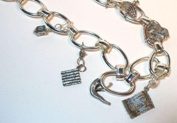 Jewish Holiday Necklace Blue Hanukkah Charm Necklace Symbols Bats