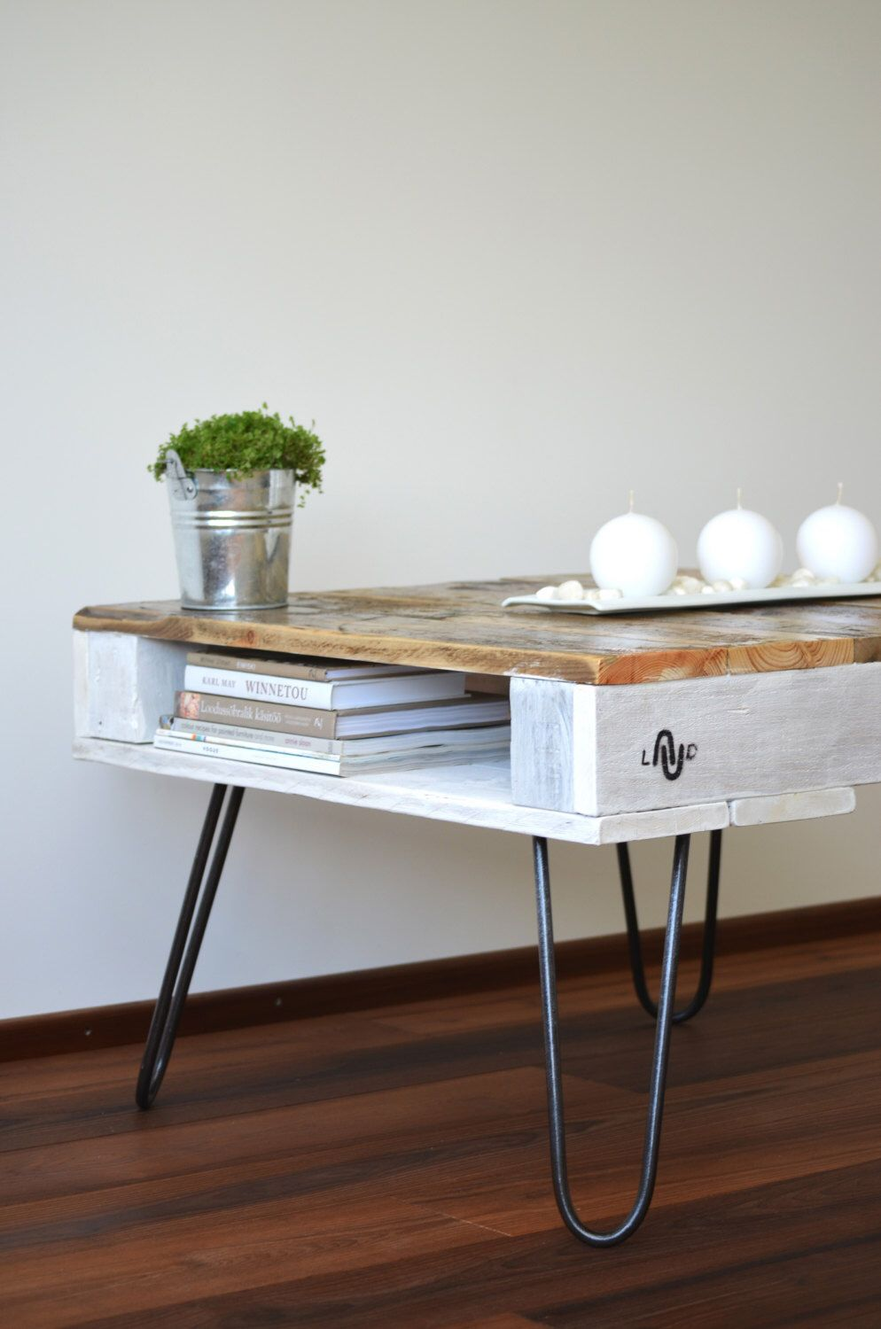 """Pallet Coffee Table """"LAUD"""" with hairpin legs. Natural ..."""