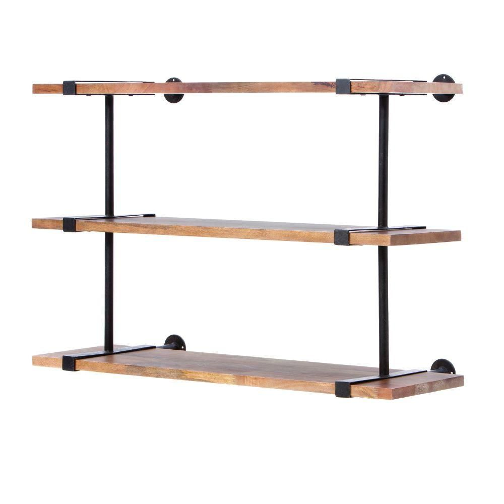 Studio 40 in. W Wood Craft Wall Shelf, Weathered Brown/Black ...