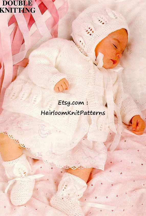Baby Matinee Coat Bonnet Bootees Knitting Pattern Leaf