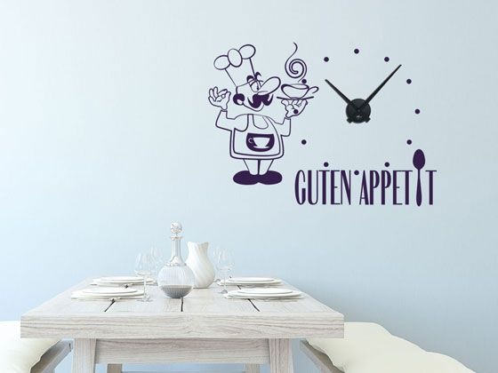 Wandtattoo Uhr mit Uhrwerk Wanduhr Küche Spruch Guten Appetit Koch - wandtattoo küche guten appetit