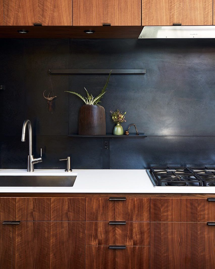 "Metal Black Kitchen Cabinets: ""The Metal Backsplash And Drawer Pulls Were Fabricated By"