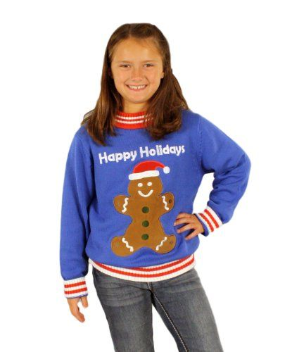 childrens gingerbread man holiday sweater in blue ugly christmas sweater 8 20 large skedouchehttpwwwamazoncomdpb00fq1jf4kref - Childrens Ugly Christmas Sweaters