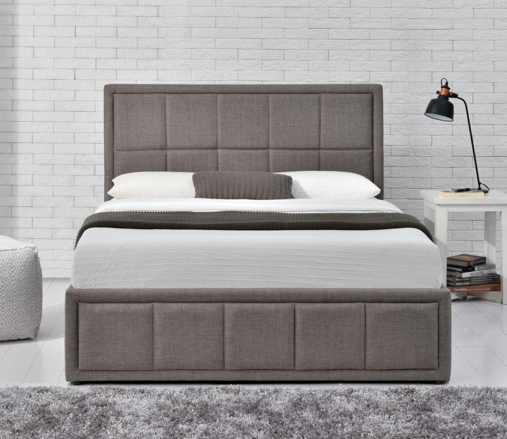 Bed 120 X 190 Happy Beds Hannover Grey Upholstered Fabric Ottoman Storage Bed