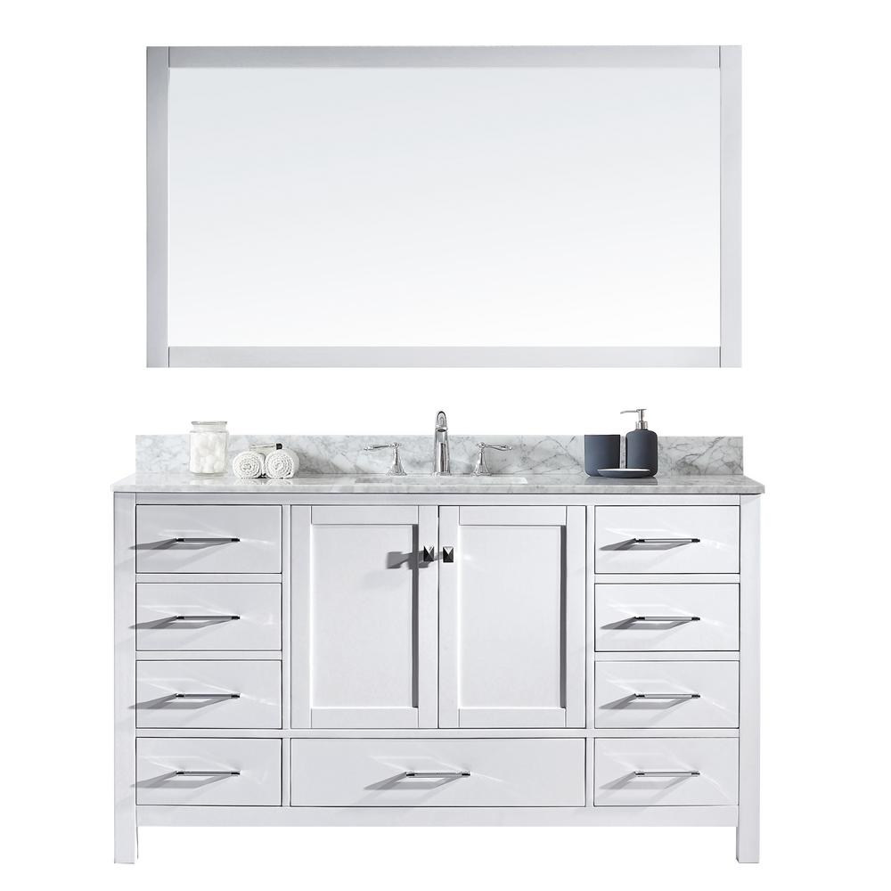 Virtu Usa Caroline Avenue 60 In W Bath Vanity In White With Marble Vanity Top In White With Square Basin And Mirror Gs 50060 Wmsq Wh The Home Depot Marble Vanity Tops Vanity Single