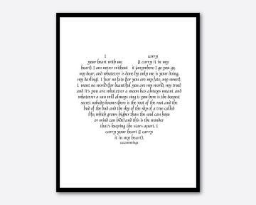 Poem by e.e. cummings - I carry your heart with me - subway art - typography wall art - 8 x 10 print love poetry - heart typography