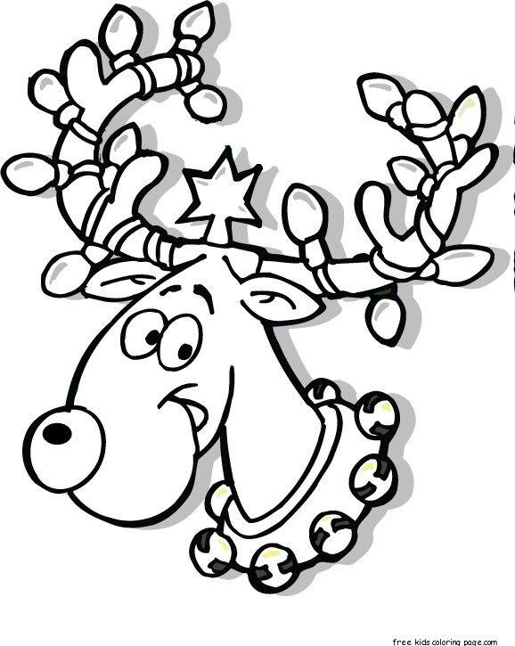 Printable Christmas Reindeer In Lights Coloring Pages Free Christmas Coloring Pages Printable Christmas Coloring Pages Christmas Coloring Pages