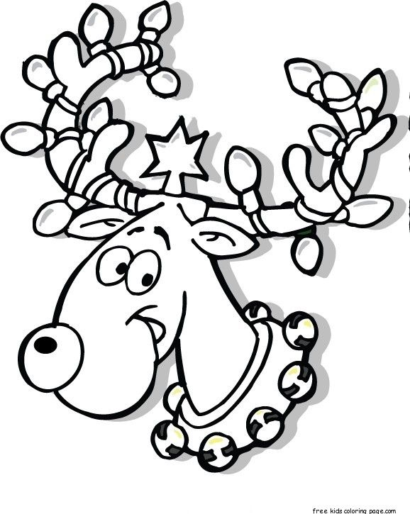 Printable Christmas Reindeer In Lights Coloring Pages Free